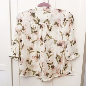 Girl is Tops - Kpop Korean Floral Sheer Floral Green Pink Blouse
